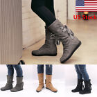 US WOMENS PU FLAT LACE UP SLOUCH MID CALF RIDING CASUAL SHORT BOOTS SHOES SIZE