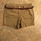 womens khaki cuffed shorts with brown belt size 8 Faded Glory
