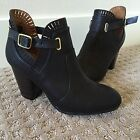 Black QUPID Ankle Bootie Heel Boots Booties Mod Ankle Buckle 7 Laser Cut Scallop