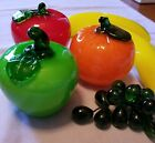 6 GLASS FRUITS RED  GREEN APPLES 2 BANANAs 1 ORANGE GREEN GRAPES
