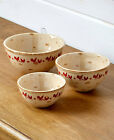 Vintage Red Rooster Mixing Bowls Distressed Finish Stoneware Microwave Ovensafe