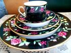 FITZ & FLOYD AMBOISE Dinnerware NEW 5 Piece Place Setting Elegant Floral/Black