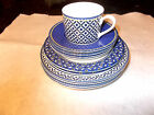 Victoria Beale Williamsburg Blue Yellow White Bowls Plates Cup Saucers (11 pcs)