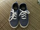 Faded Glory Toddler Girls Blue Denim Silver Glitter Lace Up Tennis Shoes Size 12