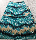 Jones Wear Aqua Blue Teal Tan Boho Long Peasant Watercolor Skirt Size L LARGE