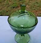 Indiana Glass Avocado Green Pedestal Candy Dish W/Lid EUC