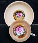 Vintage Paragon Fine Bone China Pink Cabbage Rose Heavy Gold Cup