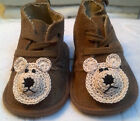 NEW BROWN TAN SUEDE BABY SHOES w BEAR or DOG 3 6 MONTHS INFANT NEWBORN BOYS