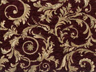 Drapery Upholstery Fabric Chenille Jacquard w Scrolling Leaves Burgundy