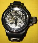 Invicta 1088 Mens Mechanical Skeleton Dial Black Rubber Watch
