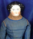 "14"" Civil War FLAT TOP CHINA HEAD DOLL 1860s Leather Hands&Shoes Antique Clothes"