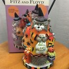Fitz & Floyd Kitty Witches Musical Kitty's Crackle and Laugh Halloween Decor Cat