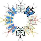 Silver 925 Plated Pendant Firel Blue Opal Butterfly Jewelry Xmas Classy Necklac