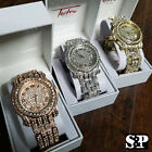 Hot Selling! Men's Hip Hop Iced Out Lab Diamond Gold, Silver, Rose Gold Watch