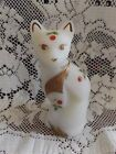 Fenton Red Berries Green Leaves Ivory Satin Glass Stylized Cat Signed Farley