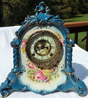 RARE ANTIQUE ANSONIA ROYAL BONN LA VERDEN PORCELAIN MANTLE CLOCK NO KEY