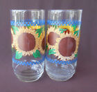 CORELLE LIBBEY Glasses Tumblers SUNFLOWER SUNSATIONS Blue Gingham Set of Two
