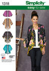 Simplicity 1318 Misses Kimono Jackets Sizes XXS XXL Assorted Styles