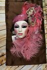 Vintage Clay Art San Francisco Lady Mask Wall Decor Pink Pill Hat Feathers NWT