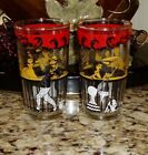 Vintage HAZEL ATLAS Glass Bar Glasses Whimsy Old West Saloon Man Woman Bartender