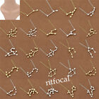 Unisexe Zodiac Sign Astrology Necklace Constellations Fashion Gift Gold Silver
