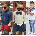 Kids Baby Boy Clothes Cotton Casual Outfits Shirt+Jeans Pants Cool Gentleman Set