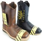 MENS STEEL TOE WORK BOOTS SAFETY PULL ON OIL RESISTANT GENUINE LEATHER