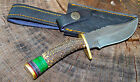 8 CUSTOM HAND MADE DAMASCUS STEEL HUNTING BOWIE KNIFE DEER ANTLER HANDLE W CASE