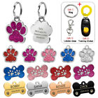 Personalized Dog Tags Engraved Cat Puppy Pet ID Name Collar Tag Bone Paw Glitter