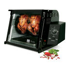 Black 1,250-Watt Non-Stick Interior Countertop Rotisserie Oven with Drip Tray