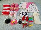 lot of infant girl hats tights shoes accessories 22 items