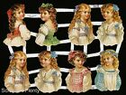 German Victorian Style Embossed Scrap Die Cut Pretty Girls Children EF7100
