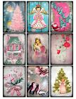 9 Vintage Retro Shabby Christmas Pink Hang Tags Scrapbooking Paper Craft 326