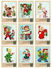 9 Vintage Christmas Postcard Hang Tags Scrapbooking Paper Craft 220