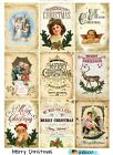 9 Vintage Christmas Hang Tags Scrapbooking Paper Crafts 221