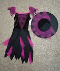 Totally Ghoul Girls Glitzy Spider Witch Dress Hat Halloween Costume Large NWT