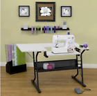 Eclipse Sewing Machine Table Computer Desk White Craft Folding Storage Cabinet