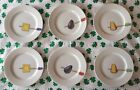 Set of 6 Crate & Barrel TIDBITS Snack Appetizer Plates Nancy Green