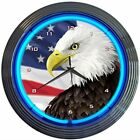 Neonetics Eagle with American Flag Neon Wall Clock 15 Inch