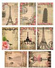 8 Vintage Paris Hang Tags Scrapbooking Paper Crafts 316