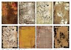 8 Grungy Primitive Distressed Background ATC Hang Tags Scrapbooking 311