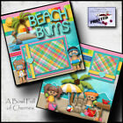 BEACH BUMS boy girl 2 premade scrapbook pages paper piecing printed BY CHERRY