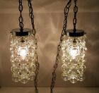 Vtg Double Hanging Swag Lamp Unusual Glass Globes Tynell Bubbles Light Fixture