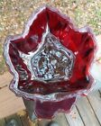 VTG Glass Maple Leaf Ruby Cranberry Candy Dish Ash Tray Canadian Maple Crimson