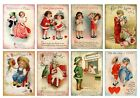 8 Valentine Vintage Kids Hang Tags ATC Cards Scrapbooking 202