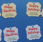 24 personalized white or ivory Merry Christmas Happy Holidays gift favor tags