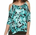 NWT Size S Jennifer Lopez Cold Shoulder Top Blouse Womens Green and Black
