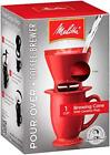 Melitta Coffee Maker, Single Cup Pour-Over Brewer with Mug, Red (Pack of 4)