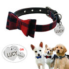 Bowknot Small Dog Puppy Pet Cat Soft Padded Collar  Personalized Engraved Tag