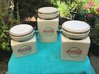Coca Cola CAFE Canister Set by GIBSON Circa 2000 Red & White Ceramic $9 No Res.